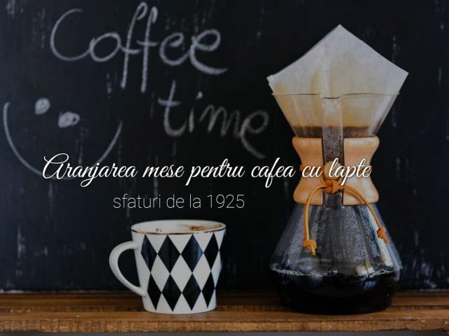 aranjarea mesei pentru cafea cu lapte