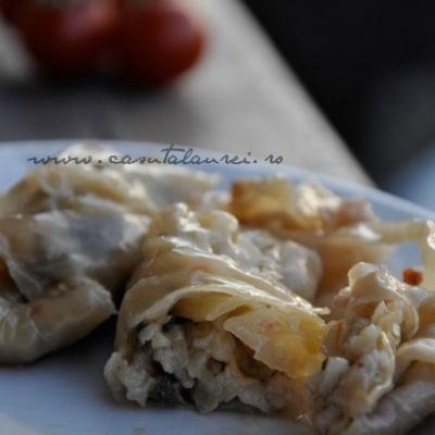 Sarmale vegane cu umplutura de orez cu ciuperci