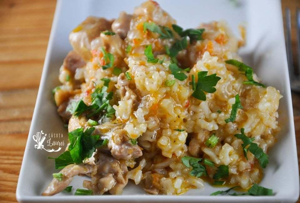 pilaf de pui cu orez gatit la cuptor